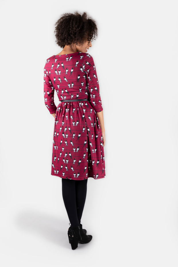 Yasmin Wine Swallow Print Dress