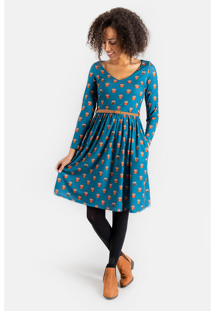 Orla Owl Dress With Pockets