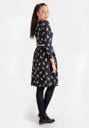 Deirdre Black Deer Print Dress