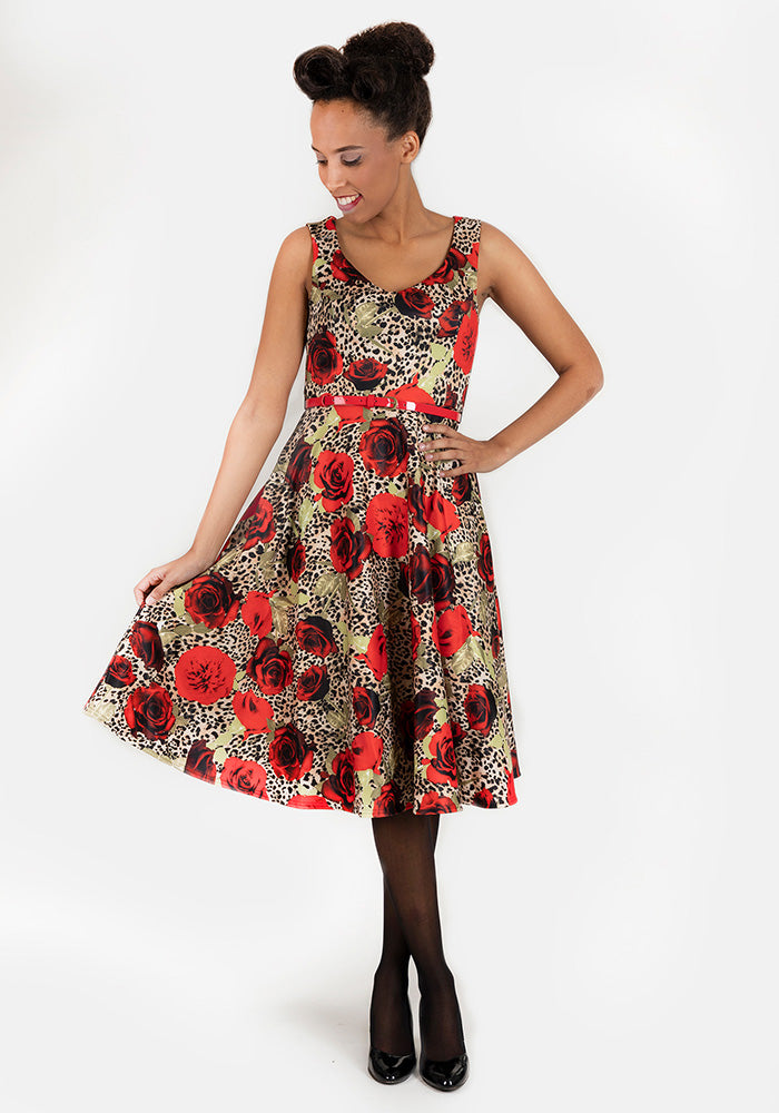 Ava Rose Leopard Swing Dress
