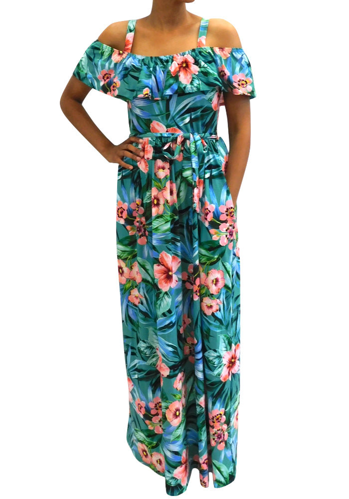 Amelie Blue Floral Maxi Dress