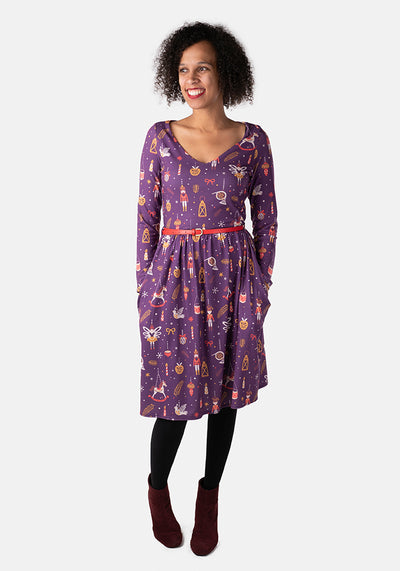 Angel Purple Nutcracker Print Dress