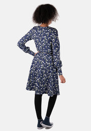 Anna Navy Snowdrop Floral Print Dress