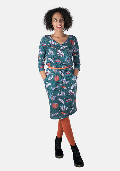 Aria Green Book Print Dress