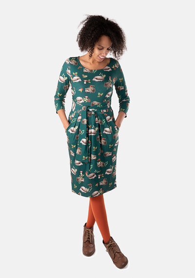 Augusta Green Hedgehog Print Dress