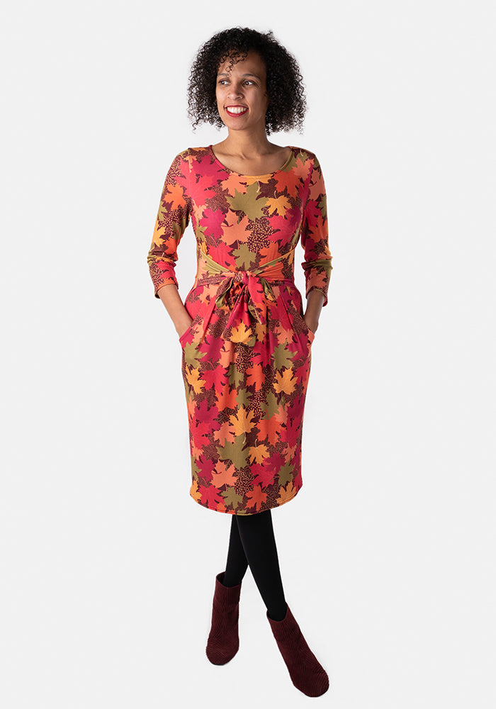 Autumn Orange Leaves Print Dress