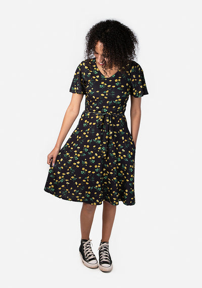 Laura Black Buttercup Print Dress