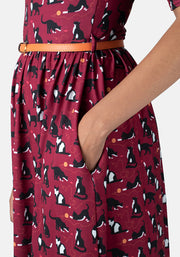 Bailey Wine Cat Print Dress