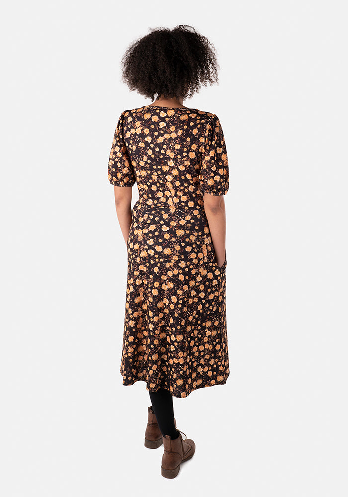 Judith Yellow Floral Midi Dress