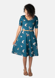 Drake Blue Duck Print Dress