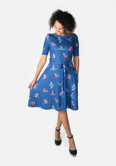 Liv Blue Hummingbird Bird Print Dress