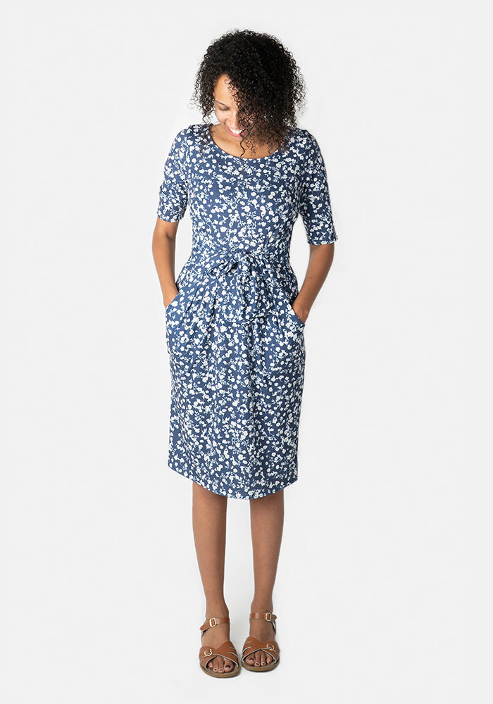 Elaine Blue Floral Print Dress