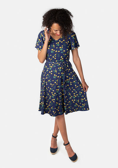 Laura Navy Buttercup Print Dress