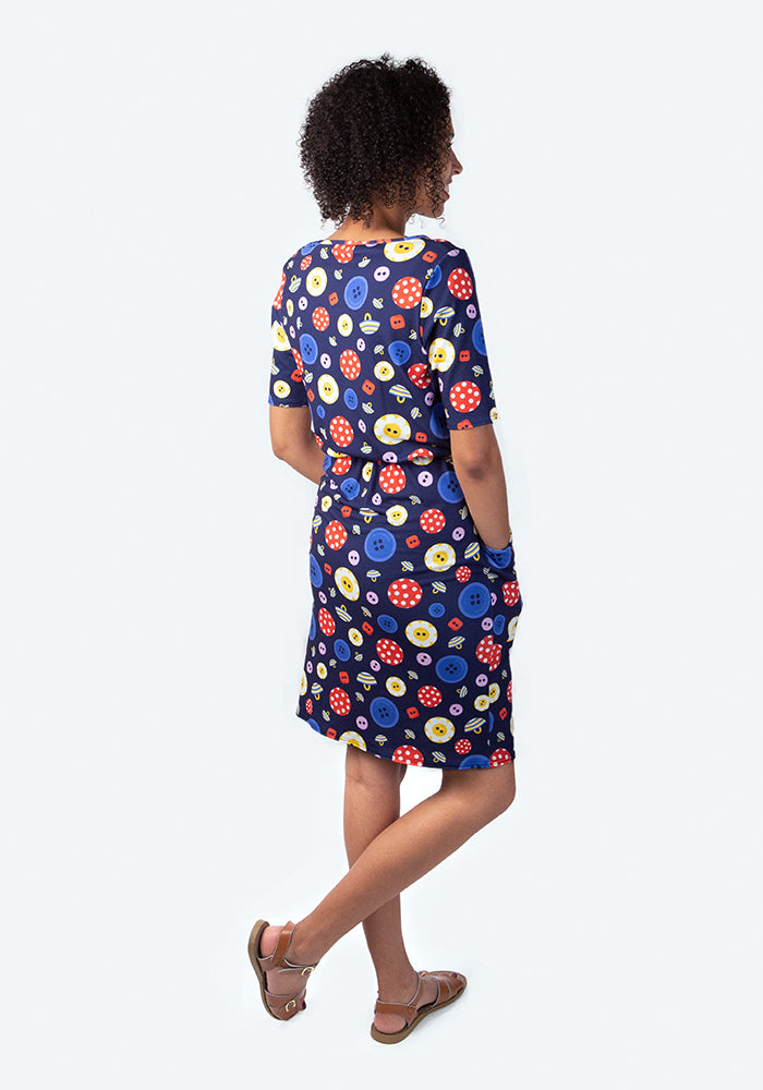 Belinda Button Print Dress