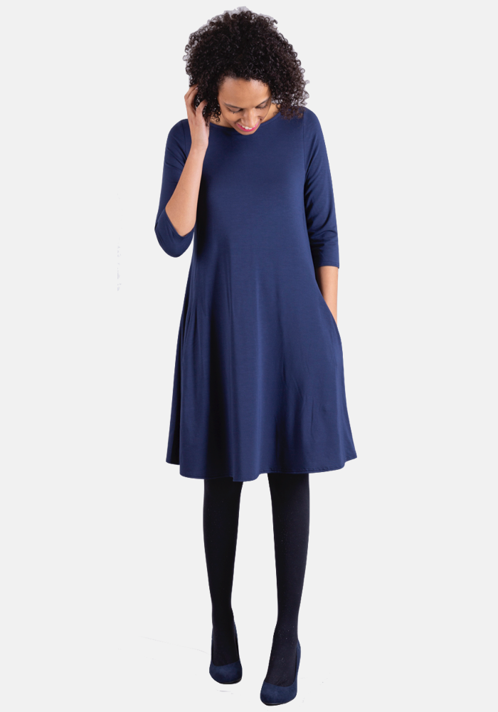 Tracey Navy Trapeze Dress