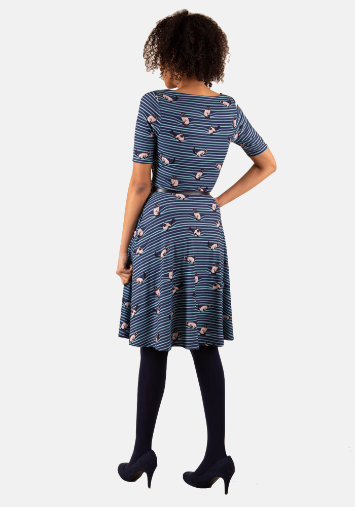Elvie Cat On Line Print Dress