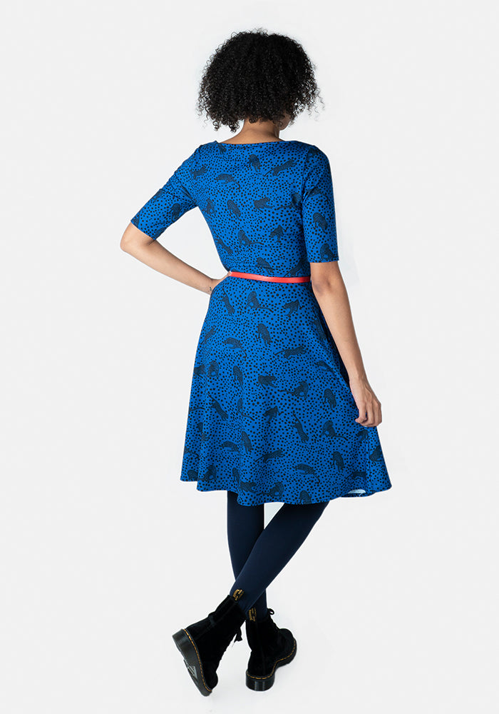 Carter Blue Leopard Print Dress