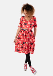 Clancy Red Button Print Dress