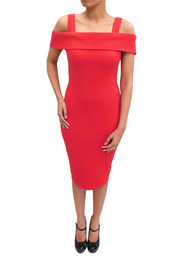 Dawn Red Bardot Midi Dress
