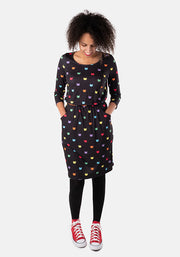 Eileen Multi Coloured Cat Face Print Dress