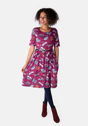 Emerson Raspberry Book Print Dress