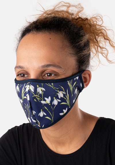 3 Layer Navy Snowdrop Reversible Face Cover (Anna)