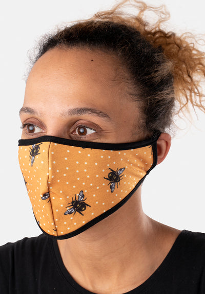 3 Layer Bee Print Reversible Face Cover (Be)