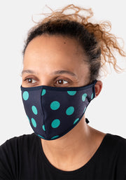 3 Layer Green & Navy Spot Print Reversible Face Cover (Lucinda)