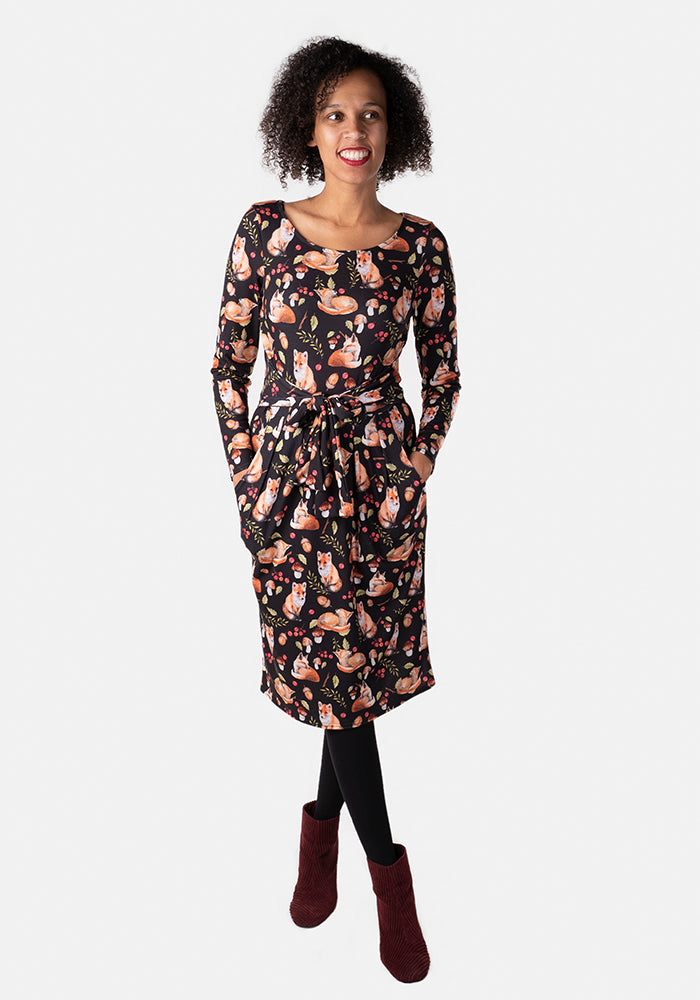 Fayline Black Fox Print Dress