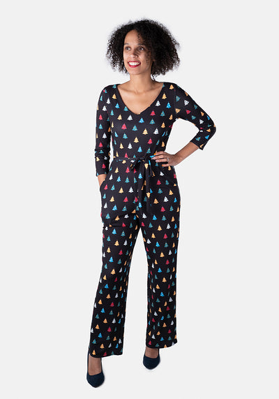 Fern Multi Coloured Christmas Tree Print Jumpsuit