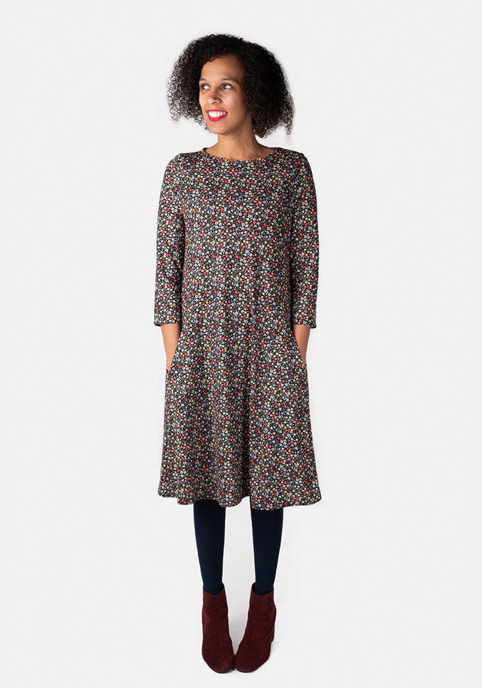 Flore Ditsy Fruit Print Trapeze Dress