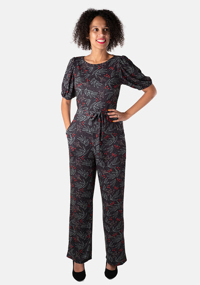 Frankie Christmas Foliage & Berry Print Jumpsuit