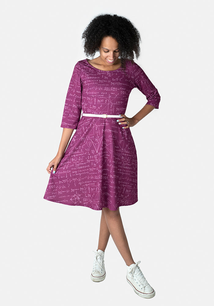 Jemma Purple Equations Print Dress