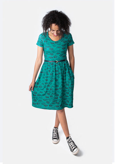 Bretta Green Book Print Dress