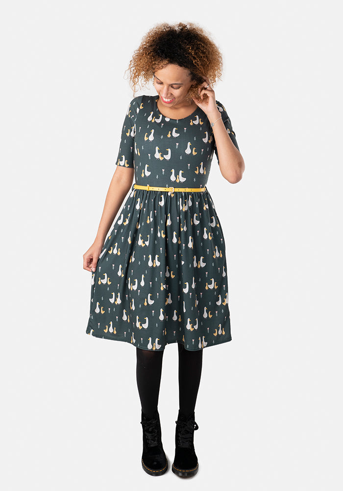 Fable Green Geese Print Dress