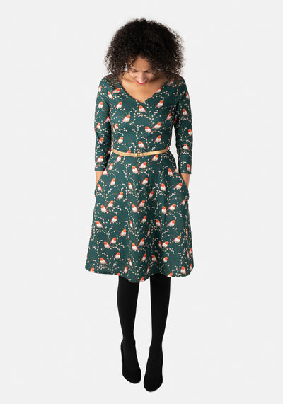 Irene Green Robin Print Dress