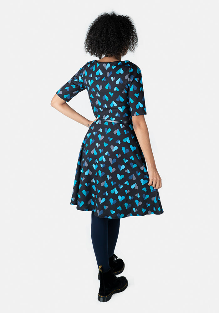 Greta Blue Heart Print Dress