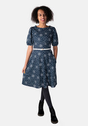 Harper Navy Clustered Spot Print Dress