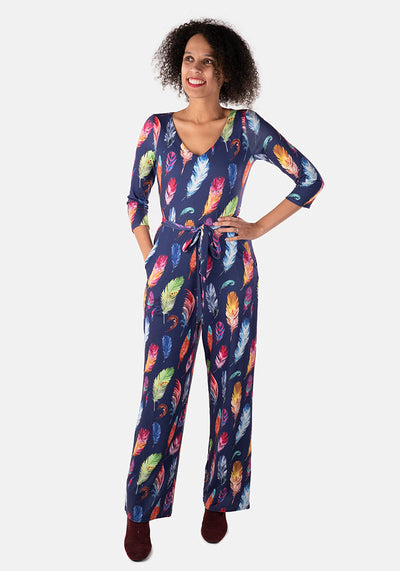 Heaven Feather Print Jumpsuit