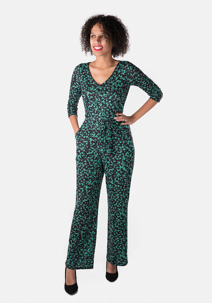 Isabel Green & Black Floral Jumpsuit