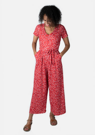 Jamie Red Ditsy Heart Culotte Jumpsuit