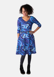 Jane Blue Northern Lights Print Dress