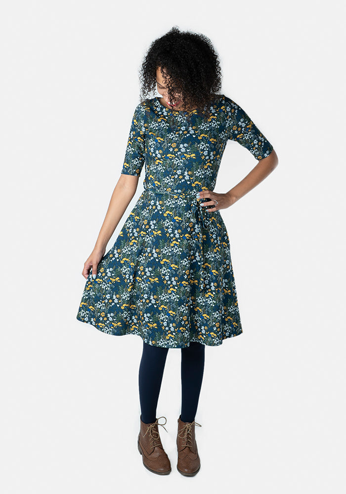Lilith Blue & Yellow Floral Dress