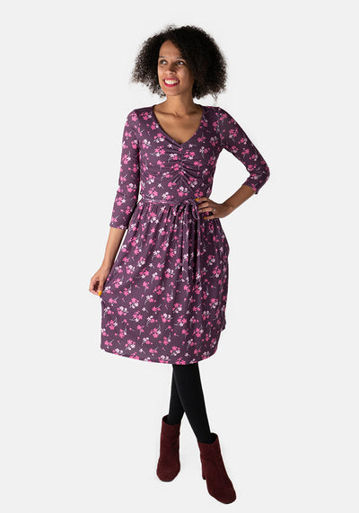 Lillian Purple Floral Print Dress