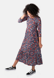 Lucile Red & Blue Ditsy Floral Midi Dress