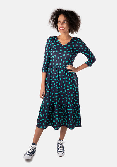 Lucinda Navy & Green Spot Midi Dress