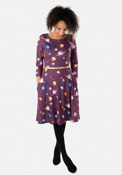 Luna Purple Planets Print Dress