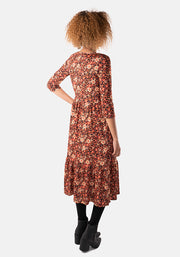 Lynette Orange & Brown Floral Midi Dress
