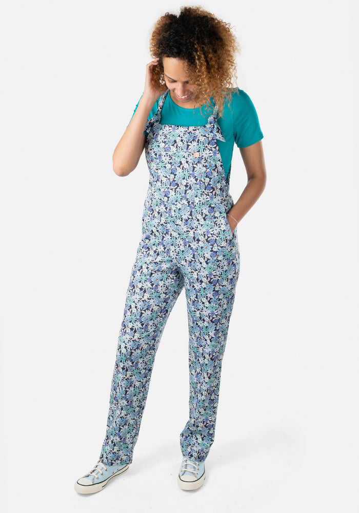 Mae Blue Ditsy Floral Dungaree & Top