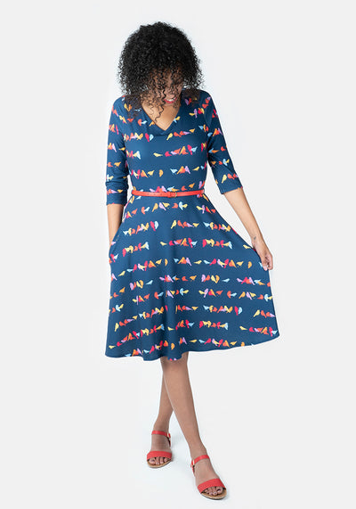 Ellie Multicoloured Bird Print Dress